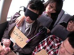 These Japanese male virgins are about to get a surprise. A bunch of sexy Japanese sluts dressed in latex get on board and plays with the men's cocks. They giggle and laugh as they give the guy's handjobs. Which of them will come first.