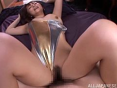 Get a boner watching this Asian babe, with natural boobs wearing nylon pantyhose, while she uses her tongue wisely in a POV video.