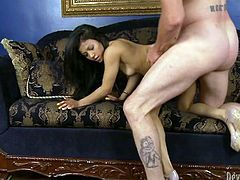 Cute and petite chick rides her man's cock in reverse cowgirl position, then bends over and gets banged hard doggy style.
