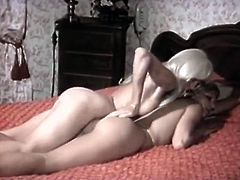 Watch this horny babe getting her wet and tight pussy rubbed by her friend's hand in her bedroom in The Classic Porn sex clips.