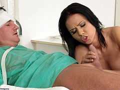 Take a look at this hot scene where this lucky patient gets amazing head from the horny nurse Denise Sky until cumming in her mouth.