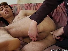 This Asian boy's mistress is completely clothed while he's completely naked. She gives him a prostate massage by inserting her finger inside his tight ass hole.