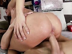 Brunette Capri Cavanni with gigantic melons enjoys guys thick sturdy ram rod in her juicy mouth