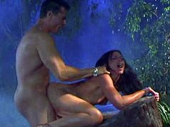 Make sure you get a load of this hardcore scene where the sexy brunette Jayna Oso plays with her wet pussy in this jungle scene before being fucked silly.