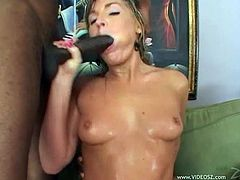 Make sure you get a load of Flower Tucci's amazing ass in this interracial scene where this slutty blonde is fucked by two big black cocks in a threesome.