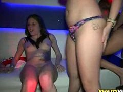 Girls with bald cunts fucked in party porn video
