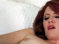 Elle Alexandra with tiny boobs and bald snatch is curious about dildoing her love hole on camera