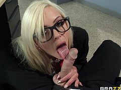 Blonde bombshell Nina Elle is playing dirty games with Johnny Sins in an office. She gives a blowjob to the dude and lets him eat her cunt. Then they fuck in the missionary position on a desk.