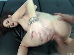 Hot and spicy brunette takes off everything leaving high heels on. Babe fingers her pussy, then gives her man great blowjob in POV video.