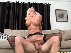 Horny light haired MILF with big round boobs got her wet pussy pounded in reverse cowgirl and sideways positions.Just enjoy that hot fuck in Reality Kings sex video!