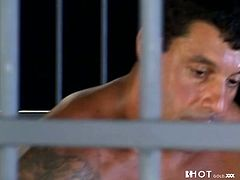 Kinky bitch with tempting body is fucking handsome dude in a jail. He penetrates her snatch in a missionary position before having hardcore anal sex.