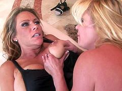 Steamy play along two horny milfs