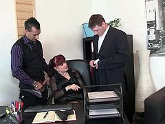 Office pussy pleases 2 snakes