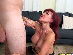 Filthy and amazing red haired babe with nice ass and in hot stockings gets her voluptuous cunt drilled hard doggystyle. Have a look at thus bitch in Reality Kings xxx clip.