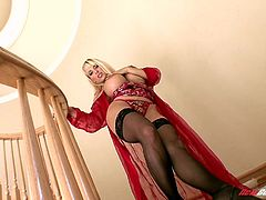 What are you waiting for? Watch this blonde cougar, with big nipples wearing sexy stockings, while she touches herself in a solo model video.