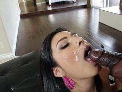With great force is how cute angel receives this black snake up her tight holes and inside her throat