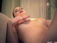 Checkout this redhead babe Cathy Heaven playing with her hairless twat. This babe is extremely horny and now wants to satisfy her shaved pussy with some good banging. Since no one is around she decides to do it herself. Watch how she finger fucks her pussy.