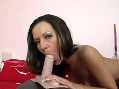 Her new fucking machine is close to cause her huge orgasm during intense and wild cock riding solo