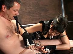 Mistress places finger claws on her hands made out of walrus teeth, and scrapes them down her slave's body to his cock and balls. She ties his balls and the tip of his dick with clamps and ties the rope on his neck.