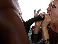 Her wet holes are soon to be ravished by black male's large tool during sensational interracial porn show