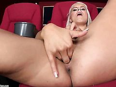 Blonde Brandy Smile gives a closeup of her pussy hole while masturbating with dildo