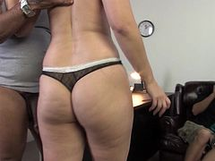 Curvy blonde mom Mandy Sweet is playing dirty games with a horny guy in an office. She sucks his BBC devotedly and they bang on a desk not paying attention to a voyeur.