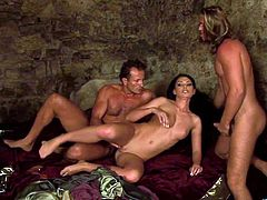 What are you waiting for? Watch this brunette cougar, with a nice ass wearing a medieval princess costume, while she goes hardcore with two guys.
