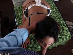 Adrianna Luna appears naked, flaunting her tanned body, her huge natural melons and her juicy cunt that's about to take cock deep. She rides dick POV style.
