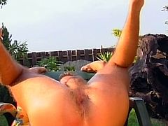 Three hot gay dudes are having sizzling fucking fun by the poolside on a sunny day!