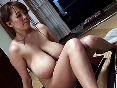 Pay attention to three words: Japanese, milf, huge tits. Did I catch your attention? A naked brunette Asian slut enjoys having her pussy licked and fingered well. That makes her very horny and repays her partner by licking his nipples and sucking his cock while she stands on her knees. Watch her fucking.