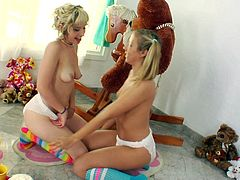 It's time for sleazy dolls to enjoy pure pleasure by gently stimulating eachother's creamy vag in softcore scene