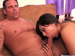 See the sexy and petite brunette belle Audrianna Angel as she blows her man's dong before it's time for her to ride her man's dong and her mouth to be spectacularly creamed.
