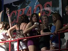 Press play to watch these chicks, with natural boobs wearing sexy outfits, while they get drunk and suddenly they are out of control showing their bodies.
