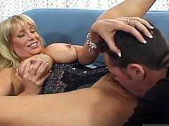 Voluptuous light haired MILF in sexy lacy lingerie gives a booty call to her young fucker. Dude comes in a minute and attacks that delicious hairy muff with his snappy tongue.