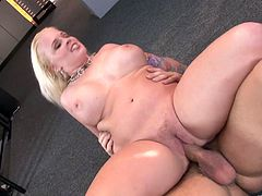 This fuckin' blonde whore gives this dude a fuckin' nice titjob and takes his cum all over her tits after hardcore sex! Check it out!