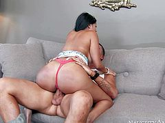 Raven haired sexy Diamond Kitty makes her stepsons best buddy happy sucking and riding his stiff dick on the couch. She shows off her big cuban ass and huge tatas as he drills her wet hole like crazy.