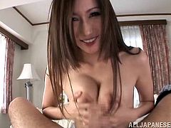 Japanese babe Julia sucks and titfucks a lucky dude's schlong