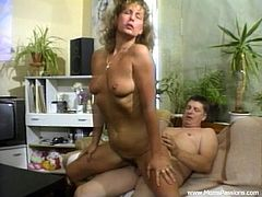 A lustful mature woman sucks a dick in close-up scenes. After that she lies down on a sofa and gets cunt licked. Of course then she gets fucked as well.