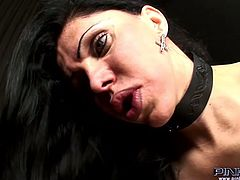 Big boobed tranny in leather corset fucks tight hairy asshole of sissy boy with no mercy. Guy gets buttfucked missionary style and cums all over his belly.