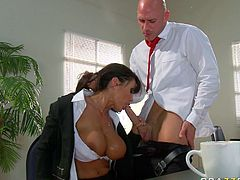 Raven haired hot mommy with huge jugs and in black classic jacket gave that handsome brutal man awesome boob fuck and solid deep throat. Watch that steamy oral sex in Brazzers Network sex video!