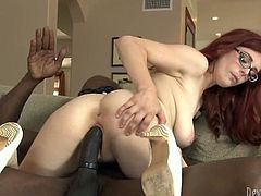 Hot anf voracious red haired babe with nice ass gets her dripping pussy drilled hard by the black cock. Have a look at this chick in Fame Digital sex video.