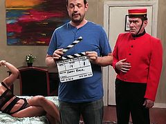 The Warchester Hotel hosts Rilynn Rae's interracial fantasy and the bellboy just has to accept what is going on in there. She enjoys the black guy's dong to the fullest.