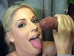 A curvy blonde girl shows her hot boobs and then starts to stroke a black cock. Of course she also sucks it with pleasure.