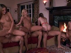 Witness these group sex where sweet babes, with nice asses and shaved pussies, while they go hardcore with lucky guys in different positions.