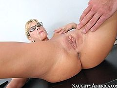 This provocative four eyed secretary slut blows big cock of her boss right in the office. She swallows his dick and looks straight into his eyes. Then he rims her ass hole and licks her snatch doggy style.