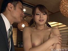 This guy wants the promotion so bad he lets his boss fuck his sexy Asian wife's hair pussy during a wicked, hardcore threesome.