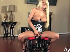 Riley gets introduced to the Rocker for the first time! Her tight little pussy gets all excited to ride the big cock. From the look on her face she is in pure heaven! You are going to love watching her big natural boobies bounce up and down. Naughty and nice video of this sexy hot blonde!!