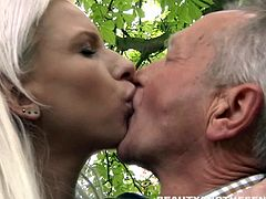 Naughty blondie with fresh huge melons chose huge erect dick with the naughty old man, getting her fucked outdoors add excitement for these two horny people.