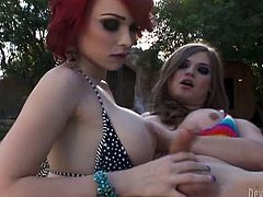 Attractive and sexy busty red haired transsexual sucks the dick to curvy ladyboy. Have a look at these shemales in Fame Digital sex video.