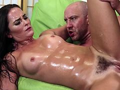 OIled up brunette sex doll wants him to sweat